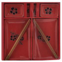 Набор для суши 8 пр. цветок на красном