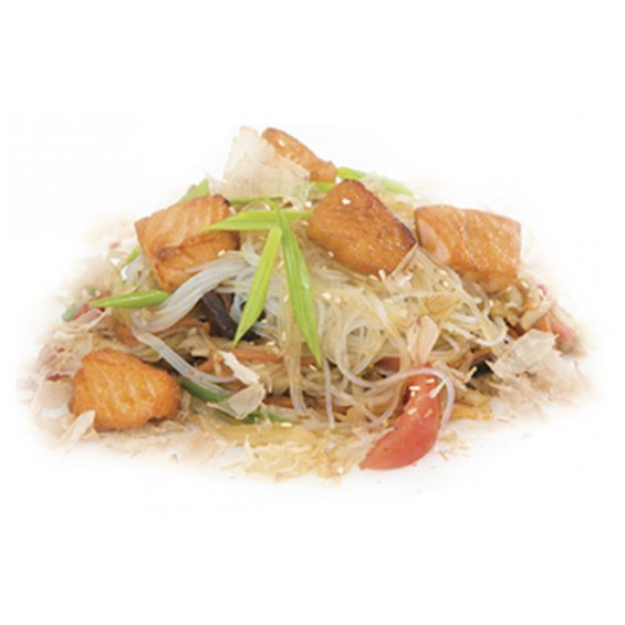 Лапша рисовая c лососем